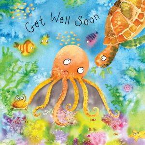 FIZ57  Card For Get Well Soon Octopus